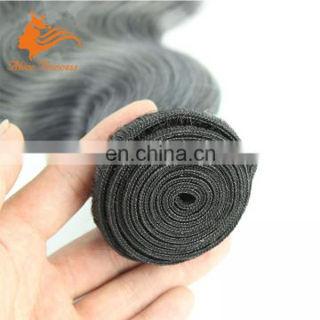 Top quality cheapest peruvian body wave human hair weaves ombre#1/#grey color virgin hair weft