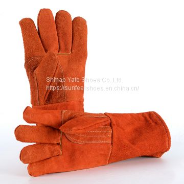 Welding Gloves Sticked Leather For Tig / Mig Heat Resistant 14