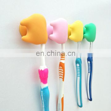 Creative cute family strong sucker wall mount bathroom toothbrush holder kids