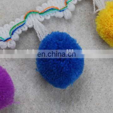 Top fashion multico design Woolen pompom fringe tassel trim