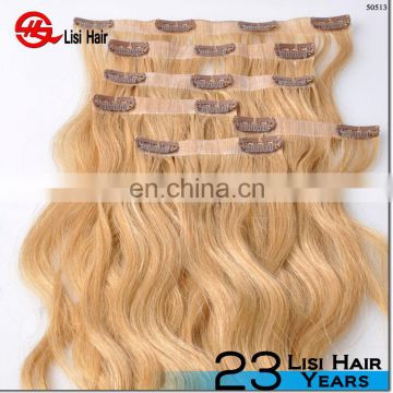 wholesale factory price 100g 120g 160g 220g 260g P color double drawn body wave human hair clip-in