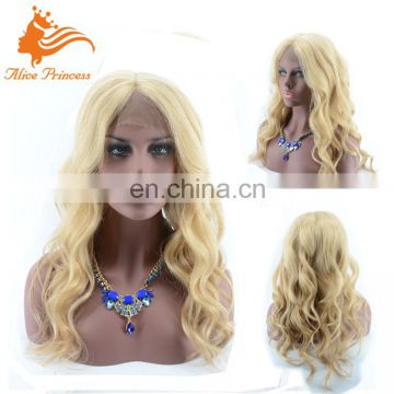 Beatiful Wave Top Quality Soft And Smooth Virgin Human Lace Wig Blonde Remy Hair Full Lace Wig