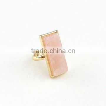 Pink rectangle stone fashion ring Geometry cheap ring fashion jewelry