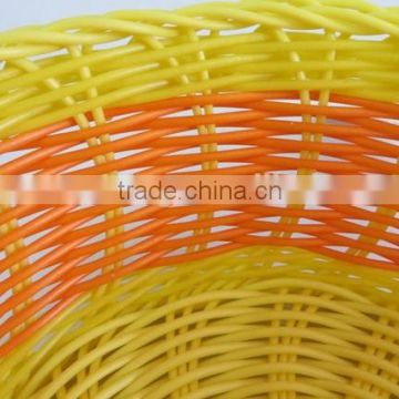 Cheap woven decorative colored fruit plastic pe rattan basket
