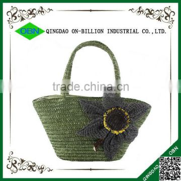 Fashion colorful handmade straw beach bag