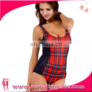 hot selling Red plaid vest swimwear for female