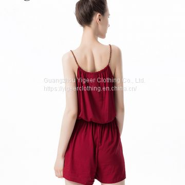 Sleeveless Spaghetti Strap Ladies' Red Jumpsuit