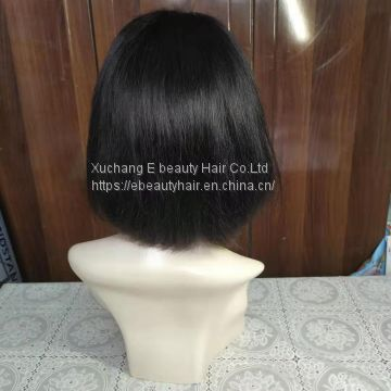 9a brazilian straight hair bobo wig middle part pre-plucked natural human hair virgin