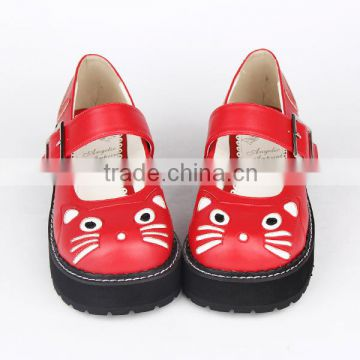 2015 New red cat cartoon bukcle strap 5cm heel black bottom girl lolita leather school shoes                                                                         Quality Choice