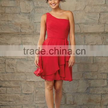 Free shipping one shoulder ruched customize cheap 2015 knee length red bridesmaid dresses CWFabb3915
