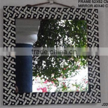 Black and white repeat patterns Bone Mosaic Mirror available in all sizes and styles