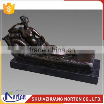 Life size bronze lying nude lady sculpture for home decor NTBH-024LI