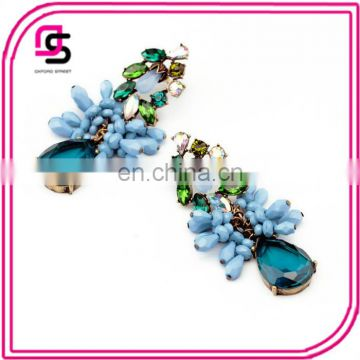 2017 exaggerated folk style blue water Gemstone Earrings for women