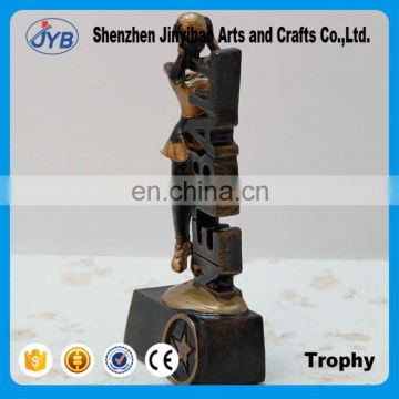 Gold plating women sports figure soccer football trophy
