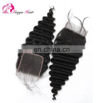 Wholesale Factory Price 100% brazilian hair deep wave cheap human hair lace top closure