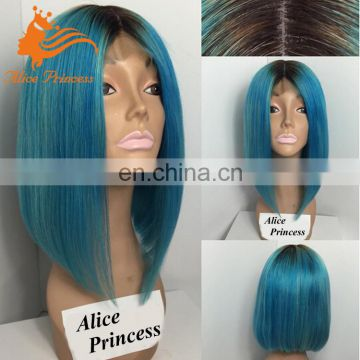 7A Grade Full Lace Wig Brazilian Human Hair Ombre Lace Wig 1BTBlue Bob Style Silky Straight Short Hair Wig With Baby Hair