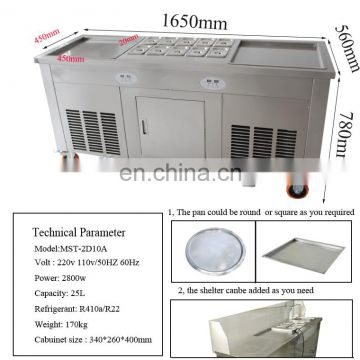2 Pan fry ice making machine ice cream making machine fried ice cream roll machine