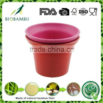 OEM available Best design Bright colored bamboo fiber flower pot
