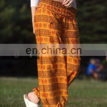Indian Harem Genie Gypsy Aladdin Pants Secret Santa Om Aum Yellow Yoga Alibaba Gypsy Hippie Baggy Pants Afghani Unisex wholesale
