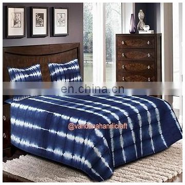Tye and dye Indigo Blue Shibori Bed cover with 2 pillow case