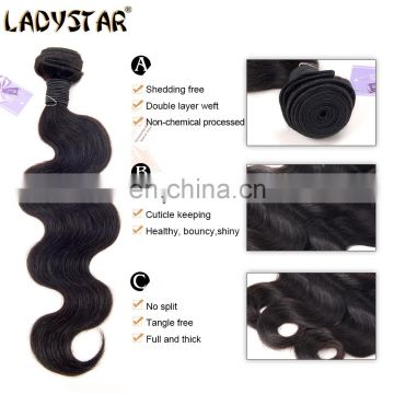 Ladystar Brazilian Hair Premium Quality 100% Human Hair Body Wave Human Hair 3 Bundles With 4*4 Lace Closure