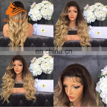 Free Part Ombre Full Lace Wig White Human Hair Wig With Baby Hair Virgin Peruvian Hair Loose Body Wave Yellow Anime Wig