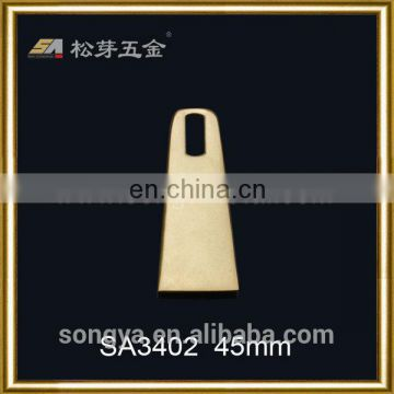 Zinc Alloy Garment Metal Zipper Puller, Gold Plated Garment Fitting Hardware