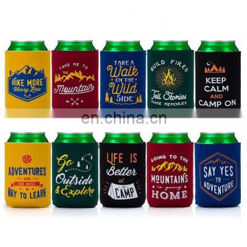 Mixed Design Camp Theme Neoprene Zipper Sleeve Insulated Beer Can Covers