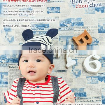 kids products border fashion japanese wholesale baby hat cotton with animal bear ear high quality infant wear child clothes