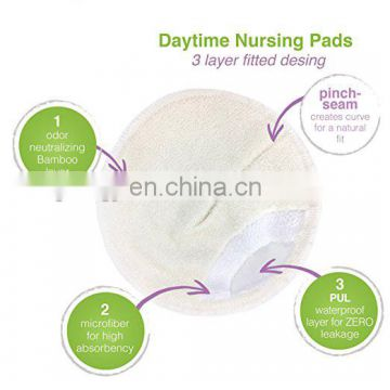 Elinfant washable organic bamboo nursing pads with Laundry Bag Absorbent Breast Pad
