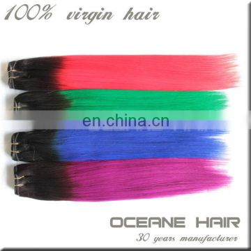 Hot sale !!! 8-36inch cheap fashion straight black green brazilian hair colors ombre hair weaves