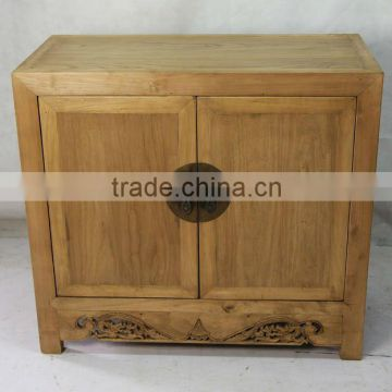 Antique Chinese Reclaimed Furniture Two Door Carving Cabinet Used
