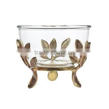 metal leaf decorative glass bowl