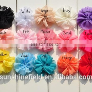 DIY Mini Chiffon Flowers Solid Ballerina Blossom Scalloped Flowers in Fun Pastel Colors 15Colors