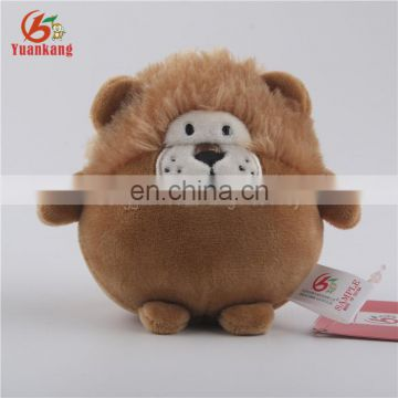 Customized promotion gift cute oval plush lion keychain
