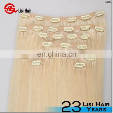 100% Unprocessed Remy human hair full head Lace top closure hair piece clip in hair for white women