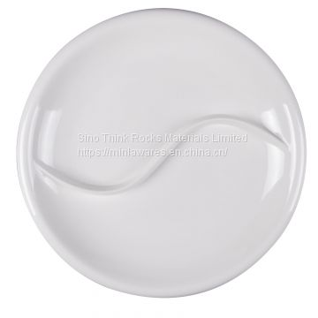 Unbreakable Four-section melamine divided food tray dinner plate  5.jpg  Item No.	180005.180007 Size	 235 x 22H.280 x 32H  Material	Melamine Moq	3000pcs Packing	 1)General packing:skin packing then us carton  2)Also can pack for customer's requirement  Te