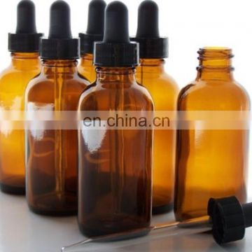 2oz Boston round Glass Amber Bottles with glass dropper pipette and rubber top for dispensing liquids (20/400)