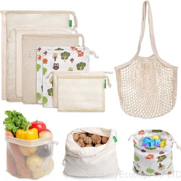 Reusable Produce Bags - Eco Friendly Organic Cotton Mesh Grocery Produce Bags - Machine Washable, Tare Weight on Label, Set of 9 for Vegetable Shopping & Storage