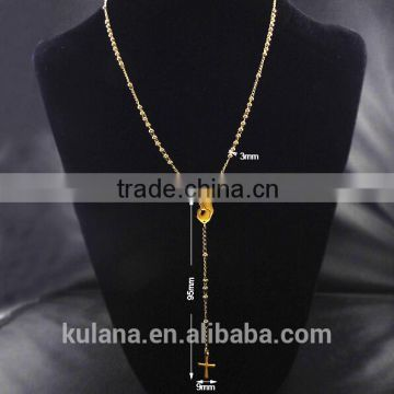 Stainless Steel Bead Jewelry Women's Cross Pendant Fashion Necklace 91821