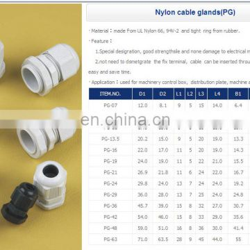 Plastic cable gland PG7, PG9, PG11,PG13.5,PG19,PG21