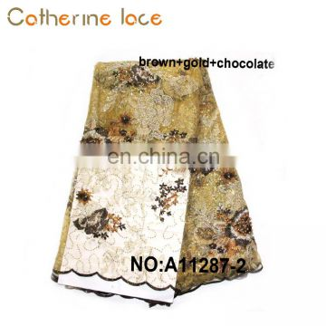 Catherine Wholesale Gold Sequins Embroidery French Lace Fabrics For Dresses