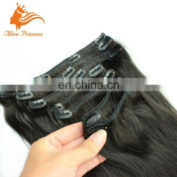 Italian Yaki Clip in Human Hair Extensions Virgin Brazilian Hair Light Yaki Clip in Hair Extensions For Black Women