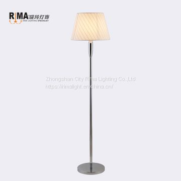 Fancy decorative fabric classic chrome steel stainless hotel Floor Lamp modern For living room