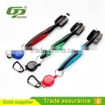 Original Golf brush and Club Groove Cleaner Mutiple colors 2FT Retractable Zip-Line Aluminium Carabiner