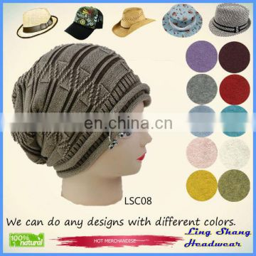 LSC08 Ningbo Lingshang 100% Cotton Hat in Fashion Winter beret hat