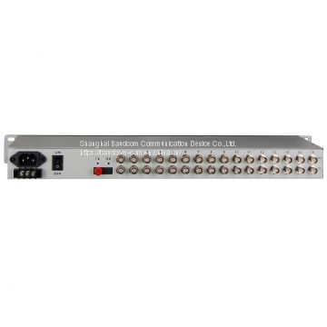16 E1 + 8 Ethernet over Fiber Multiplexer
