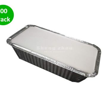 420 ml Aluminum Pans with Aluminum Cladding Paper Cover, Rectangular Aluminum Foil Grill Pans,Environmentally Friendly Disposable Aluminum Pans