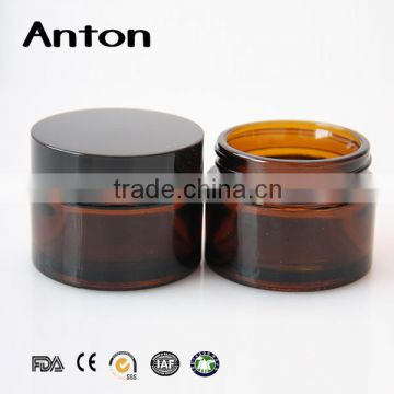 30g amber cosmetic glass jar for personal care with black screw top lid