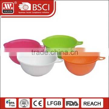 Colorful Round Eco-friendly Big OZ Capacity Plastic Mixing Cup Salad Bowl With Handle